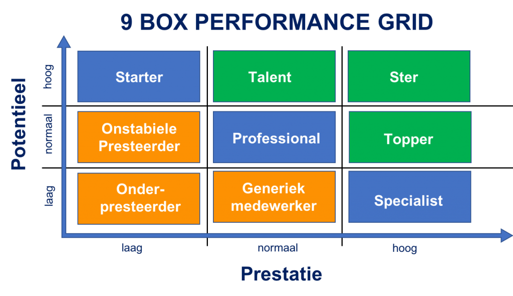 prestatie en potentie matrix in 9 box model